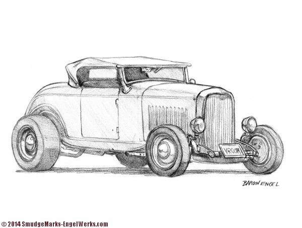 1932 ford hot rod sketch  engel